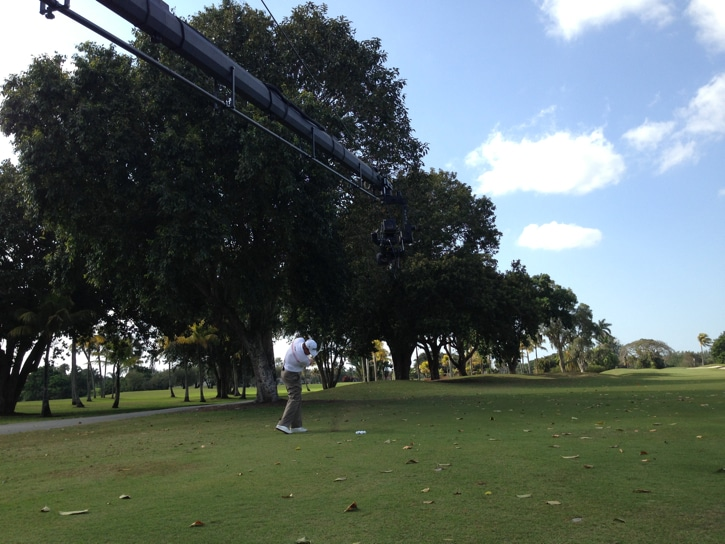 Lee Westwood sends his Pro V1x soaring...