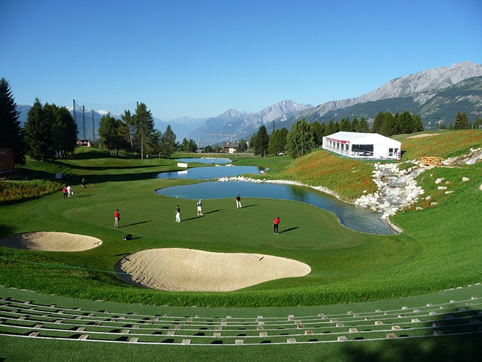 The new look 13th hole at Crans-sur-Sierre