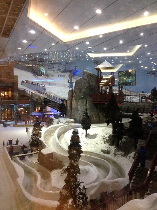 The indoor Snow Dome in Dubai. Skiing in the...