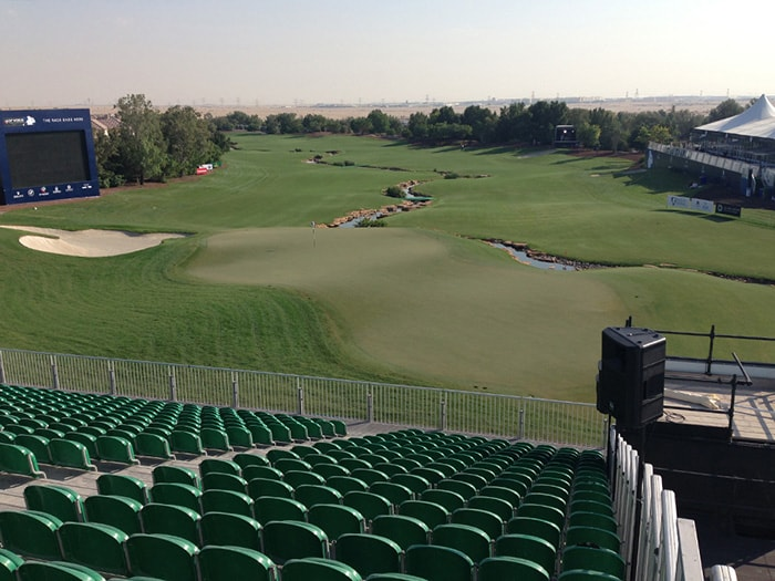 The 18th hole at the Earth Course from the...