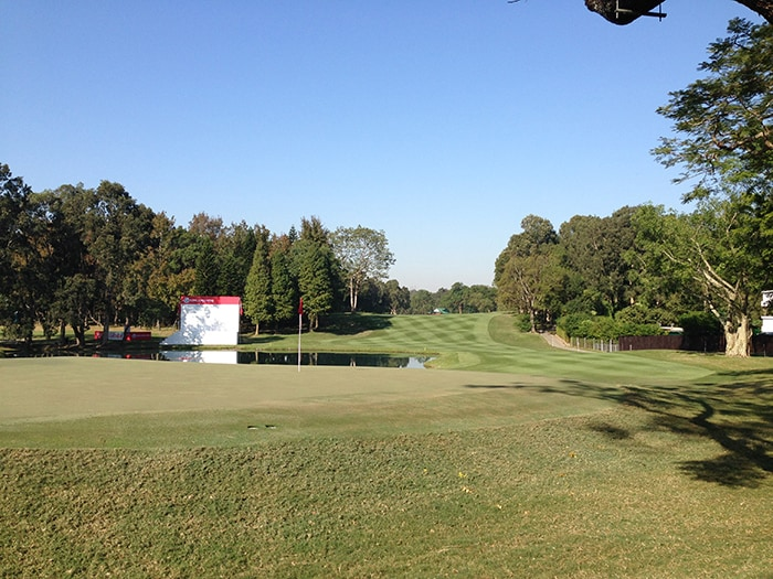 The 18th hole from the back of the green.