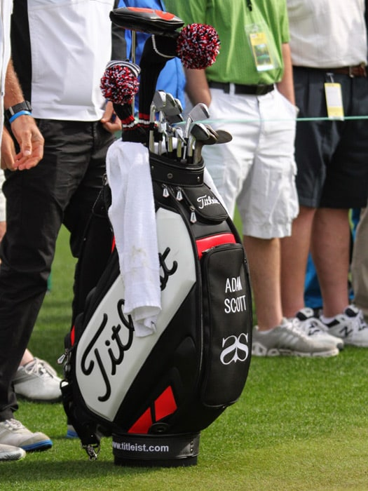 The staff bag of Titleist Brand Ambassador and...