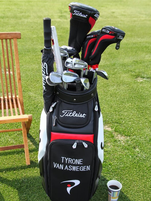 The staff bag of Titleist Brand Ambassador Tyrone...