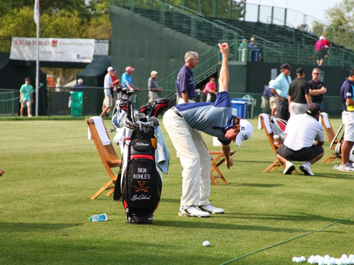 Titleist Brand Ambassador Ben Kohles warms up...