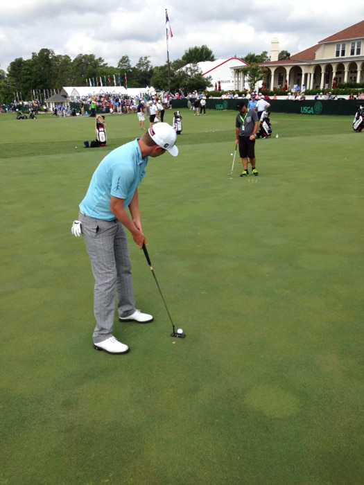 Titleist Brand Ambassador Matt Jones works on...