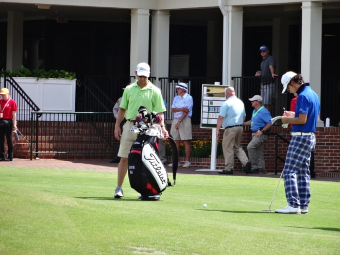 Titleist Brand Ambassador Kevin Na gets ready to...