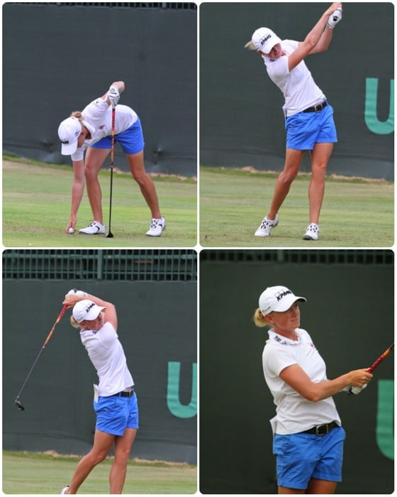 Pro V1x loyalist Stacy Lewis launches a tee shot...