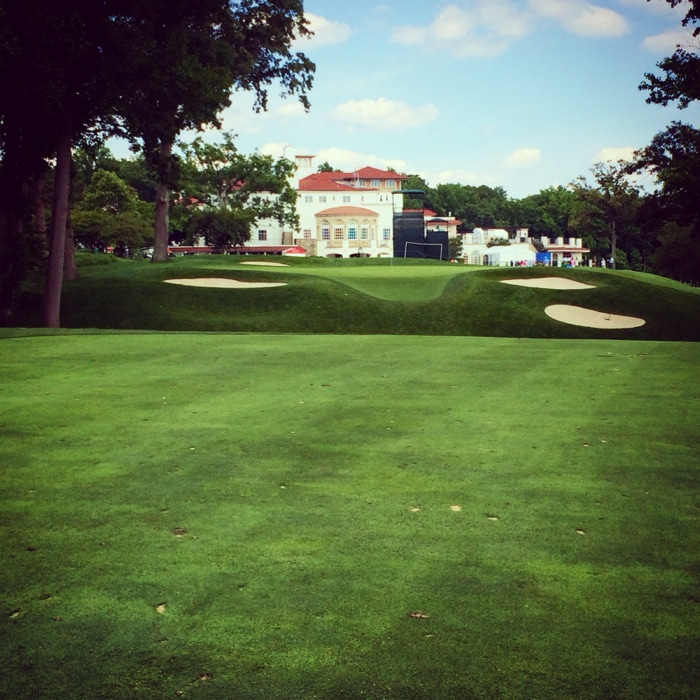 The approach into the 636-yard, Par-5 9th hole....