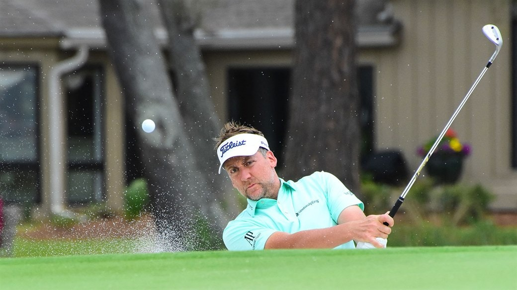 Ian Poulter gets up and down from a greenside bunker with his Vokey SM7 lob wedge