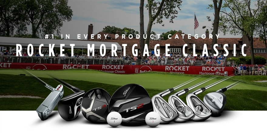 Graphic showing that Titleist was the top choice among players in every major golf equipment category at the 2019 Rocket Mortgage Classic