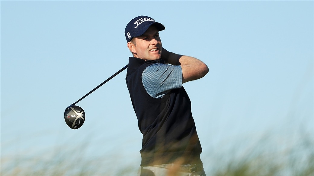 Webb Simpson tees off with his Titleist TS3 driver during action on the PGA Tour