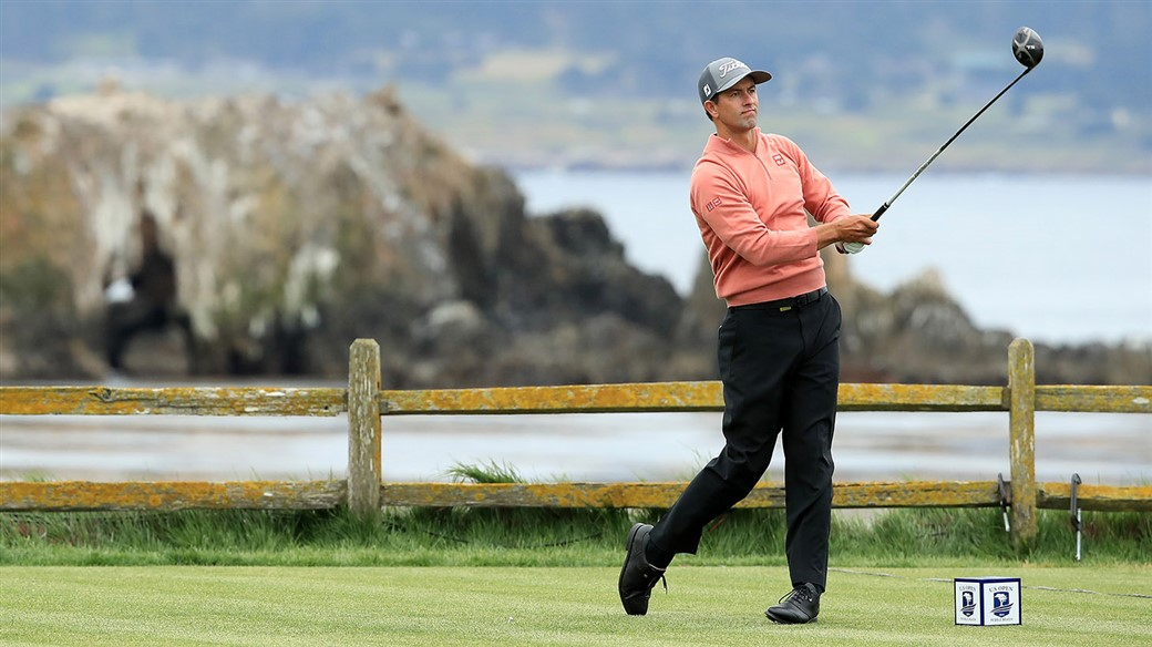Adam Scott tees off with his Titleist TS3 driver on the 18th hole at Pebble Beach Golf Links during final round action at the 119th U.S Open