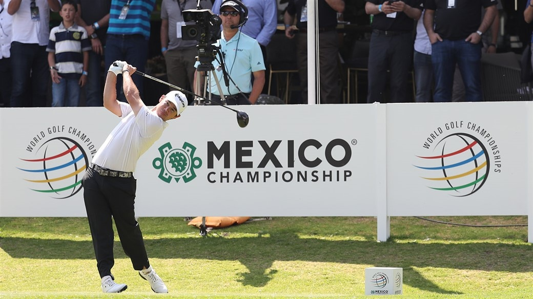 Golfer swinging during the World Golf Championships at Club de Golf Chapultepec.
