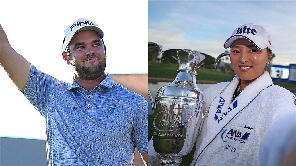 Titleist Pro V1 golf ball players Corey Conners and Jin Young Ko Celebrate their respective victories at the Valero Texas Open and ANA Inspiration