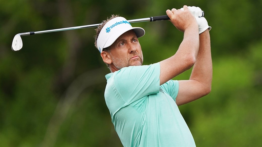 Ian Poulter Plays a shot with his Titleist AP2 iron at the WGC-Dell Technologies Match Play