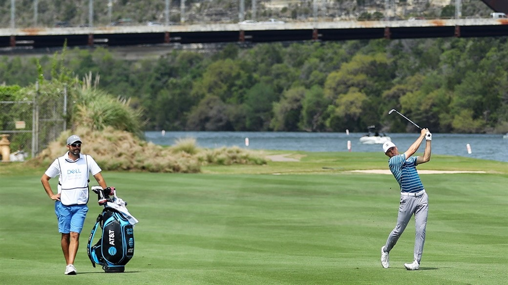 Jordan Spieth hit an irons shot with a Titleist AP2 iron at the WGC-Dell Technologies Match Play