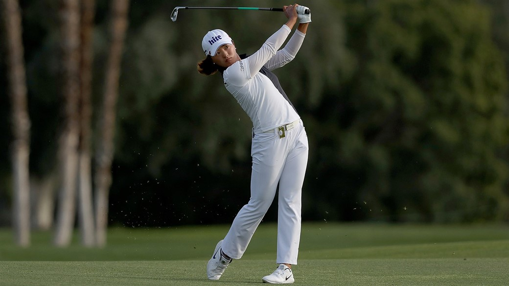 Titleist Pro V1 golf ball player Jin Young Ko plays an iron shot during the final round of the ANA Inspiration the ANA