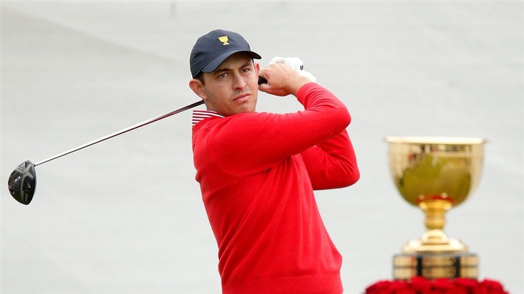 Patrick Cantlay tees off during action at the 2019 Presidents Cup