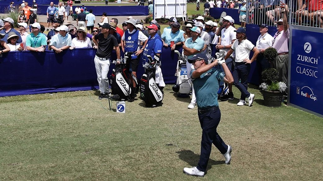 Ryan Blaum hits a tee shot during action at the 2019 Zurich Classic of New Orleans
