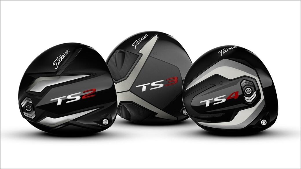 Titleist TS2, TS3 and TS4 driver club heads close up