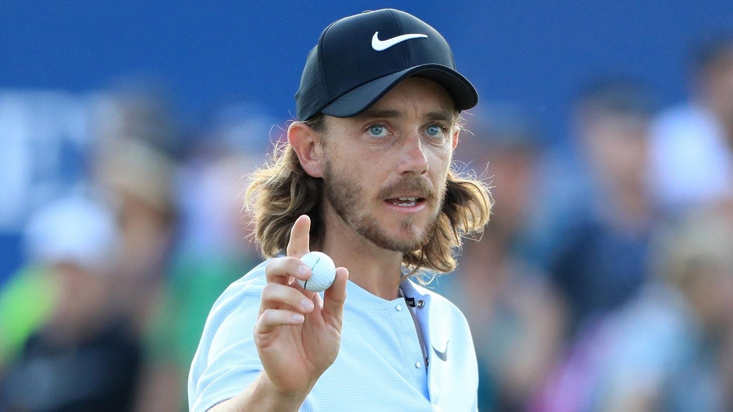 Tommy Fleetwood salutes the crowd with his Pro V1x golf ball at the 2018 Abu Dhabi Championship