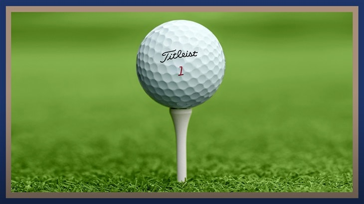 Titleist Pro V1x golf ball on a golf tee at the 2019 PGA Championship