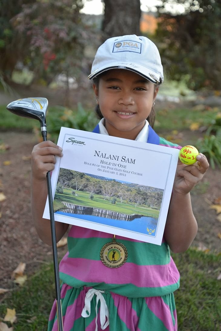 Hole in One by 8 Year Old Nalani at San Diego Junior Amateur Golf Tournament